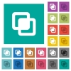 Intersect shapes square flat multi colored icons - Intersect shapes multi colored flat icons on plain square backgrounds. Included white and darker icon variations for hover or active effects.