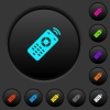 Working remote control dark push buttons with color icons - Working remote control dark push buttons with vivid color icons on dark grey background