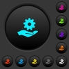 Maintenance service dark push buttons with color icons - Maintenance service dark push buttons with vivid color icons on dark grey background