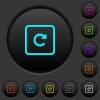 Rotate object right dark push buttons with color icons - Rotate object right dark push buttons with vivid color icons on dark grey background