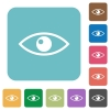 Eye white flat icons on color rounded square backgrounds - Eye rounded square flat icons