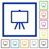 Easel with blank canvas flat framed icons - Easel with blank canvas flat color icons in square frames on white background