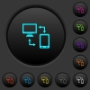 Connecting mobile to desktop dark push buttons with color icons - Connecting mobile to desktop dark push buttons with vivid color icons on dark grey background