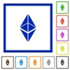 Ethereum classic digital cryptocurrency flat framed icons - Ethereum classic digital cryptocurrency flat color icons in square frames on white background