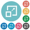Enlarge window flat round icons - Enlarge window flat white icons on round color backgrounds