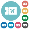 Air travel discount coupon flat round icons - Air travel discount coupon flat white icons on round color backgrounds