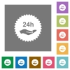 24h service sticker square flat icons - 24h service sticker flat icons on simple color square backgrounds