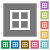 All borders square flat icons - All borders flat icons on simple color square backgrounds