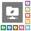 FTP tag square flat icons - FTP tag flat icons on simple color square backgrounds