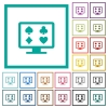 Online gambling flat color icons with quadrant frames - Online gambling flat color icons with quadrant frames on white background