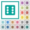 Dice six flat color icons with quadrant frames - Dice six flat color icons with quadrant frames on white background