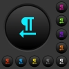 Right to left text direction dark push buttons with color icons - Right to left text direction dark push buttons with vivid color icons on dark grey background