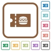 Fast food restaurant discount coupon simple icons - Fast food restaurant discount coupon simple icons in color rounded square frames on white background