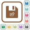 Export file simple icons - Export file simple icons in color rounded square frames on white background