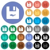Share file round flat multi colored icons - Share file multi colored flat icons on round backgrounds. Included white, light and dark icon variations for hover and active status effects, and bonus shades on black backgounds.