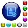 Cloud contact color glass buttons - Cloud contact icons on round color glass buttons