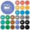 Drag image to top left round flat multi colored icons - Drag image to top left multi colored flat icons on round backgrounds. Included white, light and dark icon variations for hover and active status effects, and bonus shades on black backgounds.