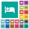 Hotel square flat multi colored icons - Hotel multi colored flat icons on plain square backgrounds. Included white and darker icon variations for hover or active effects.
