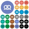 Salted pretzel round flat multi colored icons - Salted pretzel multi colored flat icons on round backgrounds. Included white, light and dark icon variations for hover and active status effects, and bonus shades on black backgounds.