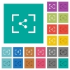 Camera share image square flat multi colored icons - Camera share image multi colored flat icons on plain square backgrounds. Included white and darker icon variations for hover or active effects.