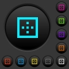 Outer borders dark push buttons with color icons - Outer borders dark push buttons with vivid color icons on dark grey background