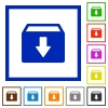 Archive flat framed icons - Archive flat color icons in square frames on white background