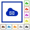 Cloud mail system flat color icons in square frames on white background - Cloud mail system flat framed icons