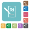 Signing new Shekel cheque rounded square flat icons - Signing new Shekel cheque white flat icons on color rounded square backgrounds