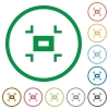 Small screen flat icons with outlines - Small screen flat color icons in round outlines on white background