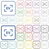 Camera exposure value setting outlined flat color icons - Camera exposure value setting color flat icons in rounded square frames. Thin and thick versions included.