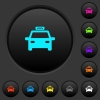 Taxi car dark push buttons with vivid color icons on dark grey background - Taxi car dark push buttons with color icons