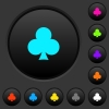 Club card symbol dark push buttons with color icons - Club card symbol dark push buttons with vivid color icons on dark grey background