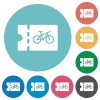 Bicycle shop discount coupon flat round icons - Bicycle shop discount coupon flat white icons on round color backgrounds