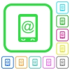 Mobile mailing vivid colored flat icons - Mobile mailing vivid colored flat icons in curved borders on white background