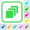 Multiple canvases vivid colored flat icons - Multiple canvases vivid colored flat icons in curved borders on white background