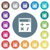 Pocket calculator flat white icons on round color backgrounds - Pocket calculator flat white icons on round color backgrounds. 17 background color variations are included.