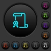 Scroll with certificate on left dark push buttons with color icons - Scroll with certificate on left dark push buttons with vivid color icons on dark grey background