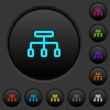 Connect dark push buttons with color icons - Connect dark push buttons with vivid color icons on dark grey background