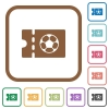 Soccer discount coupon simple icons - Soccer discount coupon simple icons in color rounded square frames on white background