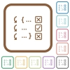 Debugging program simple icons - Debugging program simple icons in color rounded square frames on white background