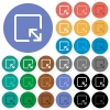 Resize object round flat multi colored icons - Resize object multi colored flat icons on round backgrounds. Included white, light and dark icon variations for hover and active status effects, and bonus shades on black backgounds.