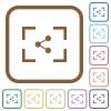 Camera share image simple icons - Camera share image simple icons in color rounded square frames on white background