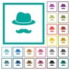 Incognito with mustache flat color icons with quadrant frames - Incognito with mustache flat color icons with quadrant frames on white background