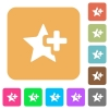 Add star rounded square flat icons - Add star flat icons on rounded square vivid color backgrounds.