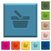 Shopping basket engraved icons on edged square buttons - Shopping basket engraved icons on edged square buttons in various trendy colors