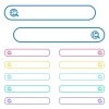 Web search icons in rounded color menu buttons. Left and right side icon variations. - Web search icons in rounded color menu buttons