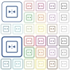 Mirror object around vertical axis outlined flat color icons - Mirror object around vertical axis color flat icons in rounded square frames. Thin and thick versions included.