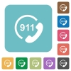 Emergency call 911 rounded square flat icons - Emergency call 911 white flat icons on color rounded square backgrounds