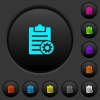 Note settings dark push buttons with color icons - Note settings dark push buttons with vivid color icons on dark grey background