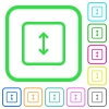 Adjust object height vivid colored flat icons in curved borders on white background - Adjust object height vivid colored flat icons